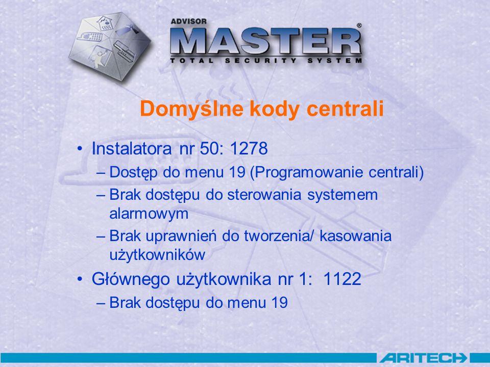 Domyślne kody centrali Instalatora nr 50: 1278 –Dostęp do menu 19 (Programowanie centrali) –Brak dostępu do sterowania systemem alarmowym –Brak uprawn