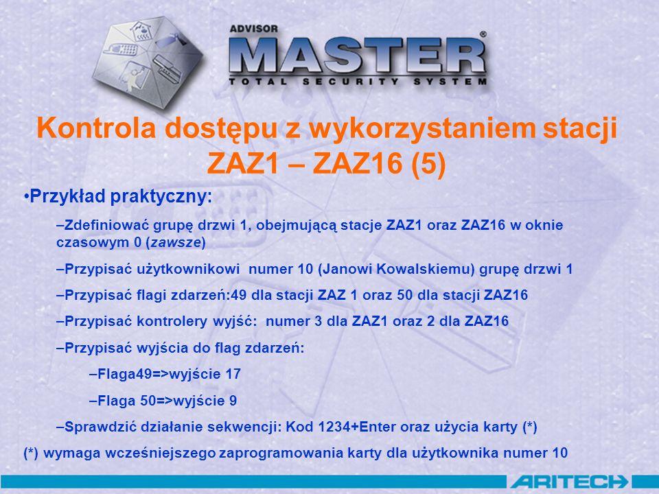 Kontrola dostępu z wykorzystaniem stacji ZAZ1 – ZAZ16 (5) Przykład praktyczny: –Zdefiniować grupę drzwi 1, obejmującą stacje ZAZ1 oraz ZAZ16 w oknie c