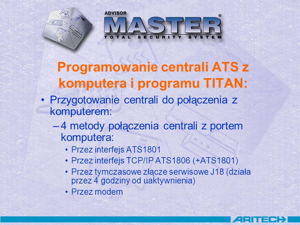 Zdefiniowanie połączenia do komunikacji z centralą (centralami) -menu ADMIN / Połączenia –Połączenie przez port RS232 komputera (ATS1801/J18) –Przez port TCP/IP –Przez modem Przygotowanie programu TITAN (3)