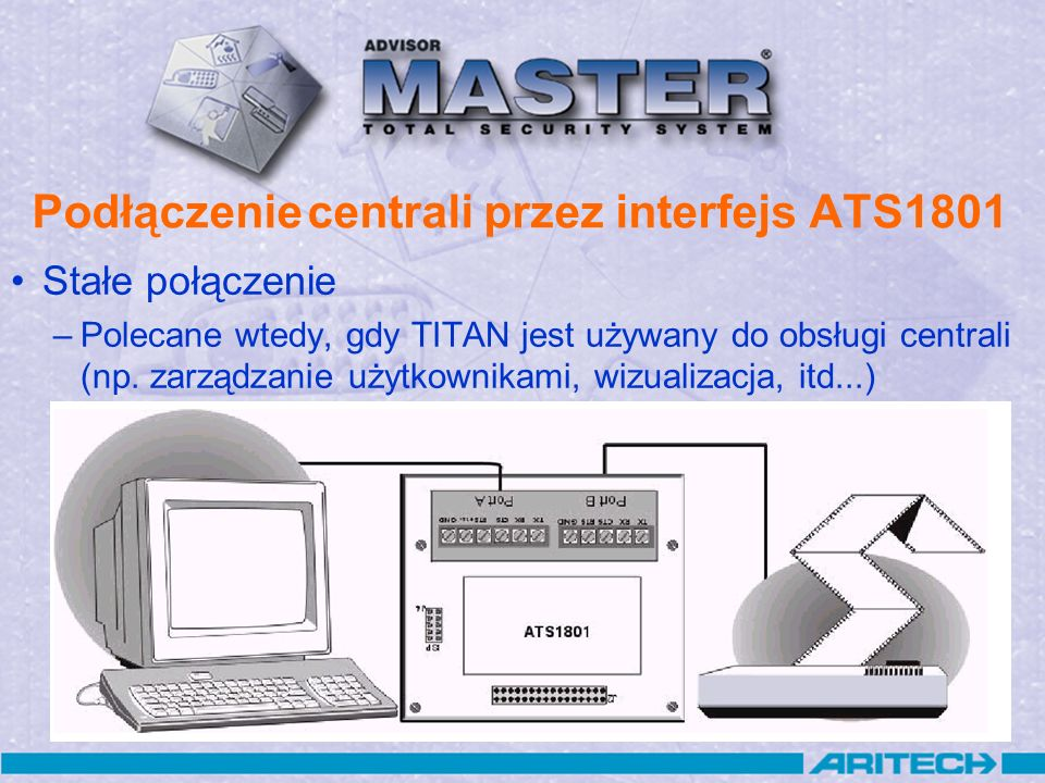 Podłączenie centrali przez interfejs ATS1801 Zwora między RTS i CTS Wtyk DB9 żeński: DB9: ATS1801: 5GND 2 TxD 3 RxD Komputer
