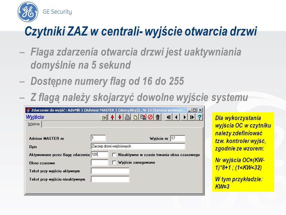 slide 11 – Flaga zdarzenia otwarcia drzwi jest uaktywniania domyślnie na 5 sekund – Dostępne numery flag od 16 do 255 – Z flagą należy skojarzyć dowol