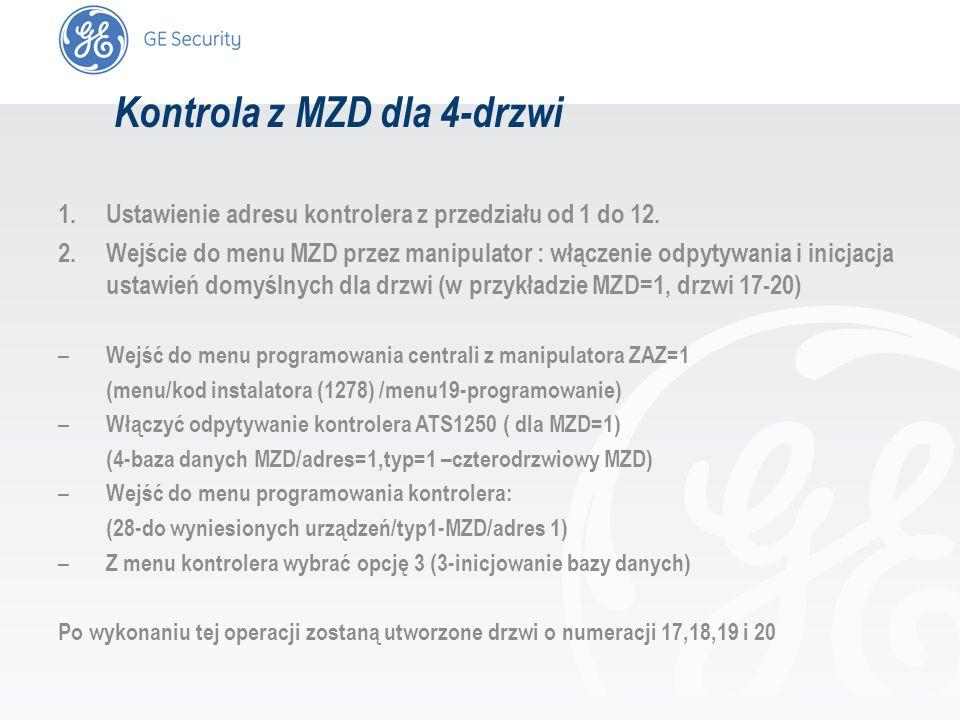 slide 12 Kontrola z MZD dla 4-drzwi 1.Ustawienie adresu kontrolera z przedziału od 1 do 12. 2.Wejście do menu MZD przez manipulator : włączenie odpyty