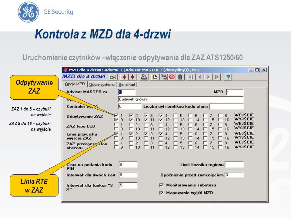 slide 13 Uruchomienie czytników –włączenie odpytywania dla ZAZ ATS1250/60 Odpytywanie ZAZ Linia RTE w ZAZ ZAZ 1 do 8 – czytniki na wejście ZAZ 9 do 16