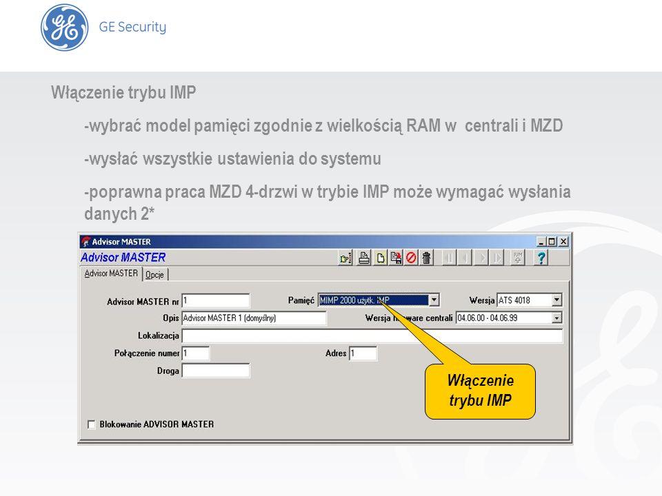 slide 7 Włączenie trybu IMP -wybrać model pamięci zgodnie z wielkością RAM w centrali i MZD -wysłać wszystkie ustawienia do systemu -poprawna praca MZ