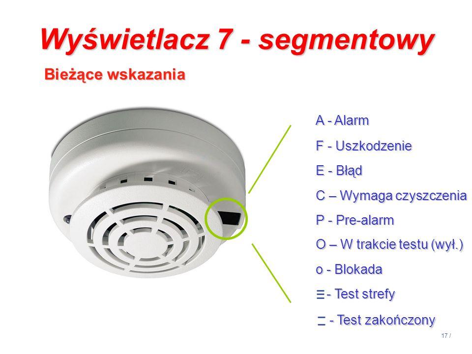 17 / Wyświetlacz 7 - segmentowy Bieżące wskazania A - Alarm F - Uszkodzenie E - Błąd C – Wymaga czyszczenia P - Pre-alarm O – W trakcie testu (wył.) o