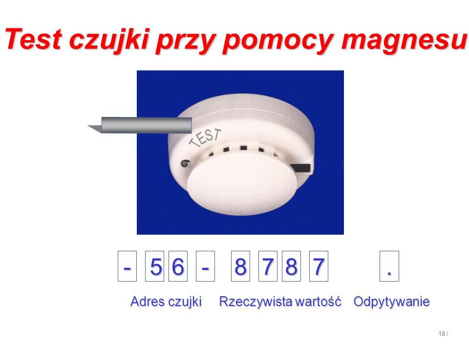 18 / -56-8787. Adres czujki Rzeczywista wartość Odpytywanie Test czujki przy pomocy magnesu
