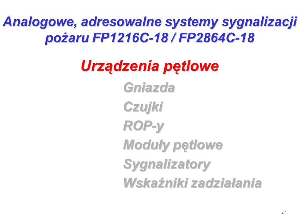 23 / GniazdaCzujkiROP-y Moduły pętlowe Sygnalizatory Wskaźniki zadziałania Urządzenia pętlowe Analogowe, adresowalne systemy sygnalizacji pożaru FP1216C-18 / FP2864C-18