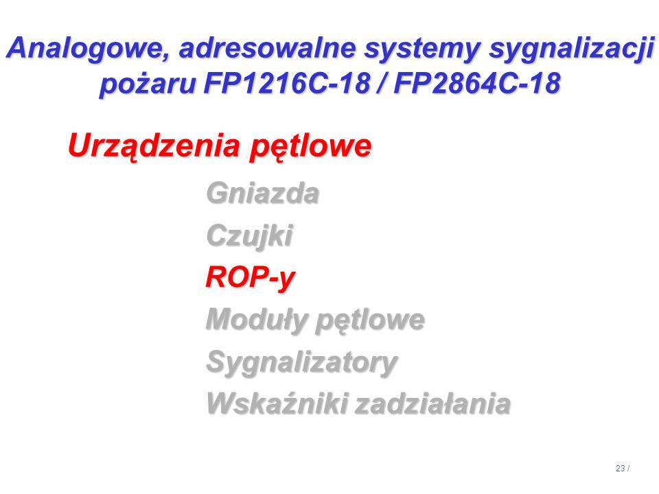 23 / GniazdaCzujkiROP-y Moduły pętlowe Sygnalizatory Wskaźniki zadziałania Urządzenia pętlowe Analogowe, adresowalne systemy sygnalizacji pożaru FP121