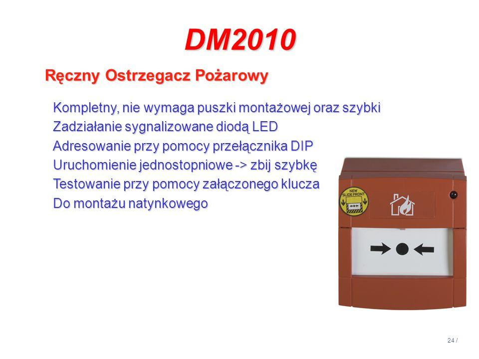 24 / DM2010 Ręczny Ostrzegacz Pożarowy Kompletny, nie wymaga puszki montażowej oraz szybki Zadziałanie sygnalizowane diodą LED Adresowanie przy pomocy