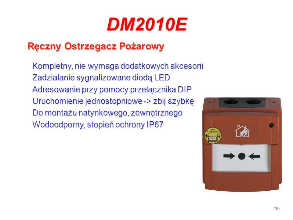 25 / DM2010E Ręczny Ostrzegacz Pożarowy Kompletny, nie wymaga dodatkowych akcesorii Zadziałanie sygnalizowane diodą LED Adresowanie przy pomocy przełą