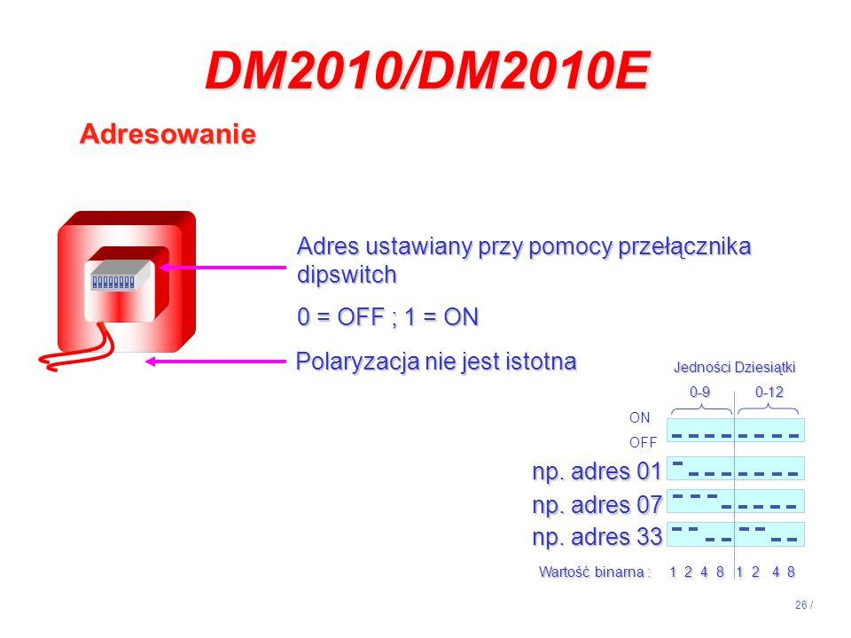 26 / DM2010/DM2010E Adresowanie ON OFF Jedności Dziesiątki 0-90-12 0-90-12 np. adres 01 np. adres 07 np. adres 33 Wartość binarna : 1 2 4 8 1 2 4 8 Ad