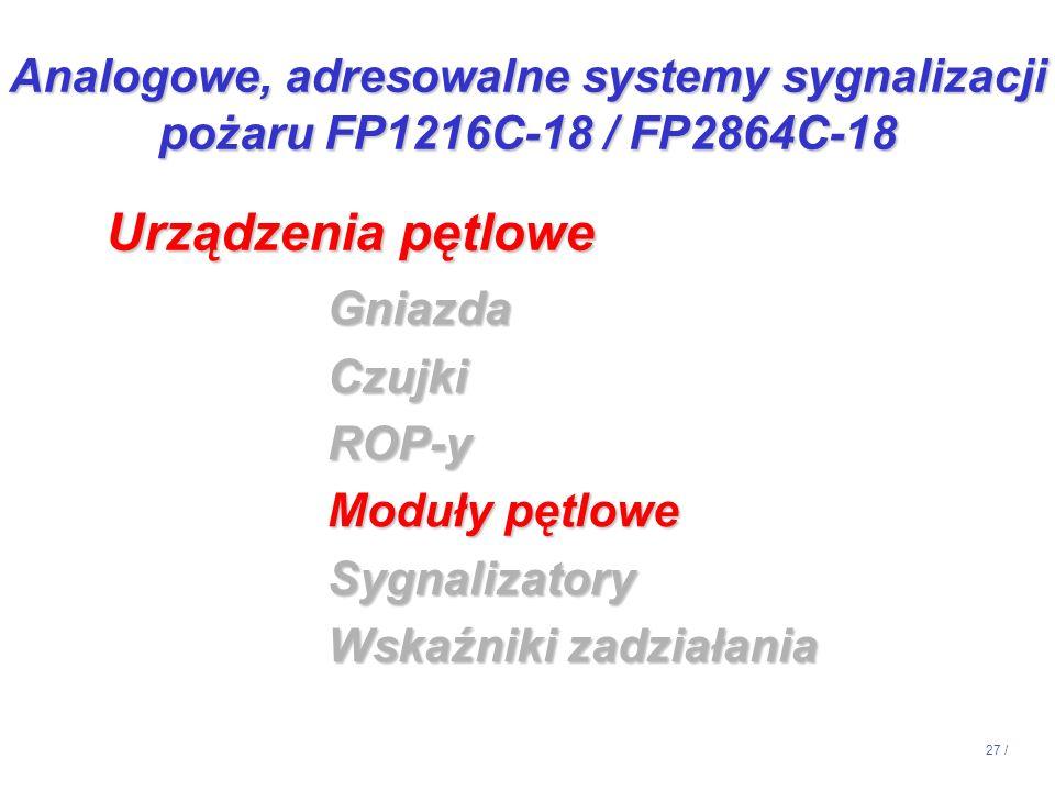 27 / GniazdaCzujkiROP-y Moduły pętlowe Sygnalizatory Wskaźniki zadziałania Urządzenia pętlowe Analogowe, adresowalne systemy sygnalizacji pożaru FP121