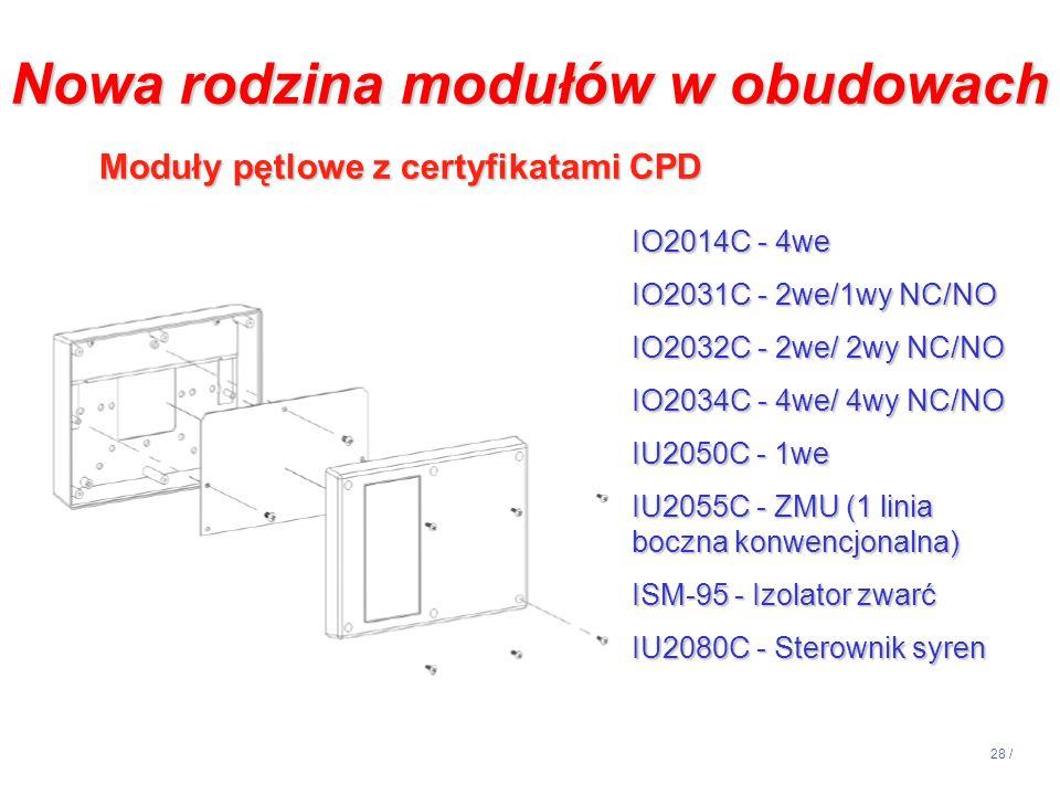 28 / IO2014C - 4we IO2031C - 2we/1wy NC/NO IO2032C - 2we/ 2wy NC/NO IO2034C - 4we/ 4wy NC/NO IU2050C - 1we IU2055C - ZMU (1 linia boczna konwencjonaln