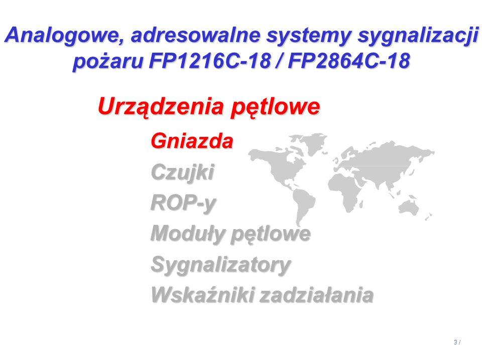 3 / GniazdaCzujkiROP-y Moduły pętlowe Sygnalizatory Wskaźniki zadziałania Urządzenia pętlowe Analogowe, adresowalne systemy sygnalizacji pożaru FP1216