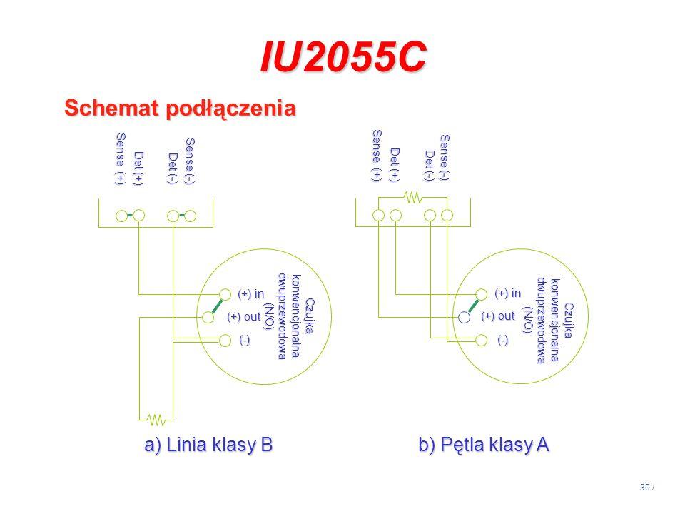 30 / IU2055C Schemat podłączenia Sense (-) Det (-) Det (+) Sense (+) Czujka konwencjonalna dwuprzewodowa (N/O) (+) in (+) out (-) Sense (-) Det (-) De