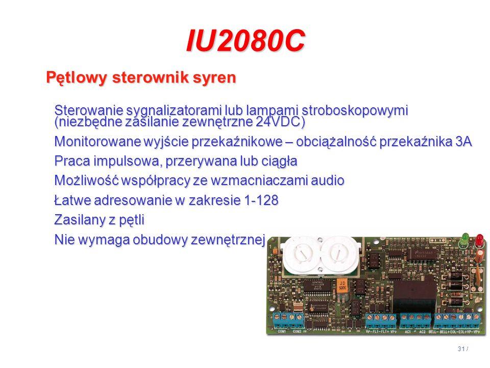 31 / IU2080C Pętlowy sterownik syren Sterowanie sygnalizatorami lub lampami stroboskopowymi (niezbędne zasilanie zewnętrzne 24VDC) Monitorowane wyjści