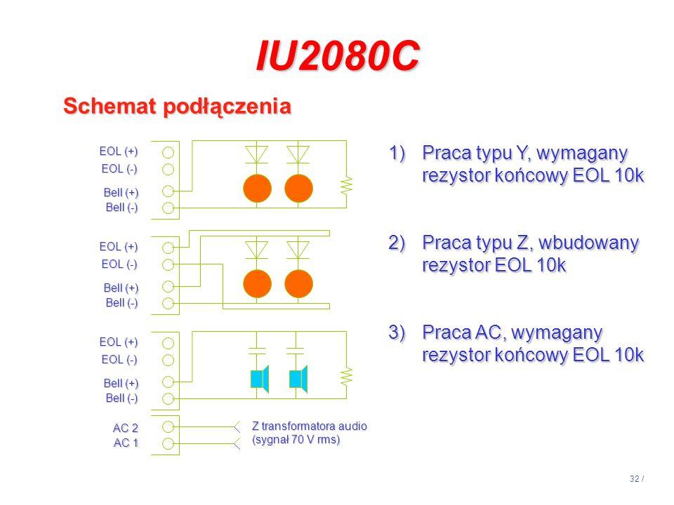 32 / 1)Praca typu Y, wymagany rezystor końcowy EOL 10k 2)Praca typu Z, wbudowany rezystor EOL 10k 3)Praca AC, wymagany rezystor końcowy EOL 10k EOL (+