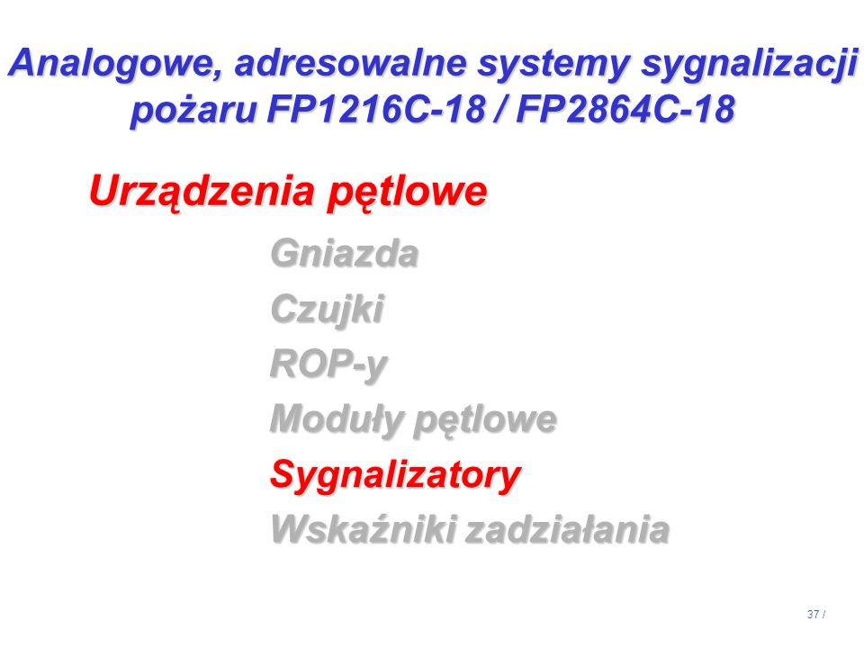 37 / GniazdaCzujkiROP-y Moduły pętlowe Sygnalizatory Wskaźniki zadziałania Urządzenia pętlowe Analogowe, adresowalne systemy sygnalizacji pożaru FP121