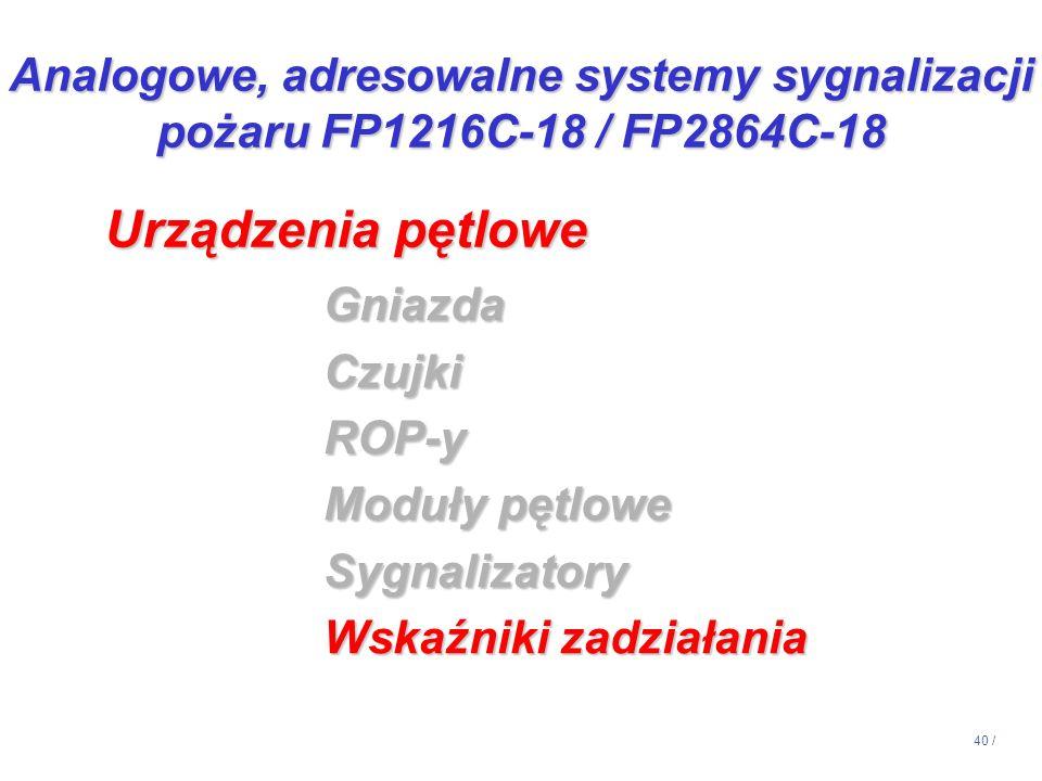 40 / GniazdaCzujkiROP-y Moduły pętlowe Sygnalizatory Wskaźniki zadziałania Urządzenia pętlowe Analogowe, adresowalne systemy sygnalizacji pożaru FP121