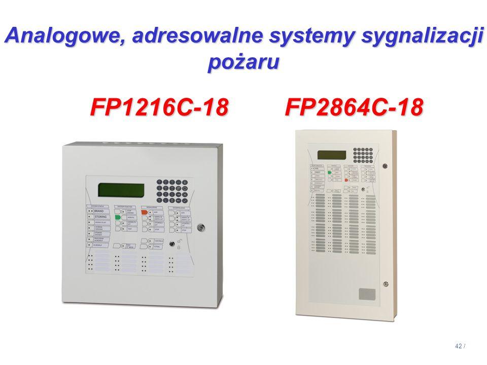 42 / Analogowe, adresowalne systemy sygnalizacji pożaru FP1216C-18 FP2864C-18 FP1216C-18 FP2864C-18