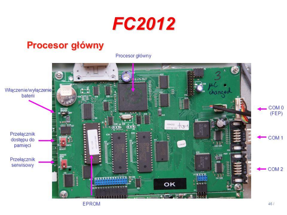46 / FC2012 Procesor główny EPROM Włączenie/wyłączenie baterii Przełącznik dostępu do pamięci Przełącznik serwisowy COM 0 (FEP) COM 1 COM 2