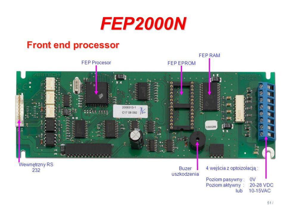 51 / Wewnętrzny RS 232 Buzer uszkodzenia 4 wejścia z optoizolacją : Poziom pasywny : 0V Poziom aktywny : 20-28 VDC lub 10-15VAC FEP Procesor FEP EPROM