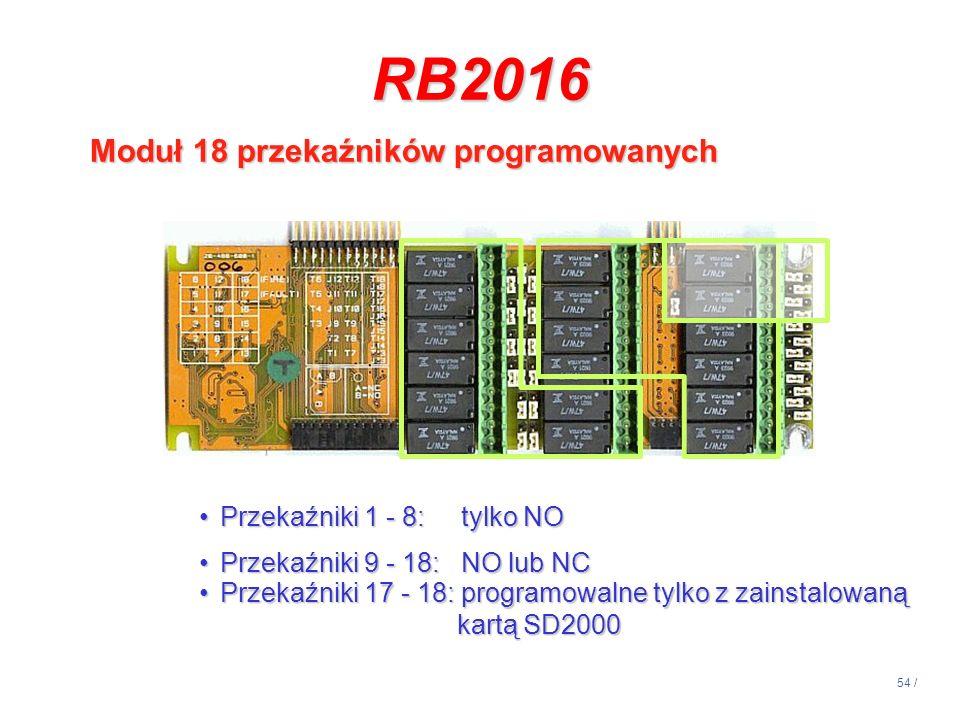 54 / RB2016 Moduł 18 przekaźników programowanych Przekaźniki 1 - 8: tylko NOPrzekaźniki 1 - 8: tylko NO Przekaźniki 9 - 18: NO lub NCPrzekaźniki 9 - 1