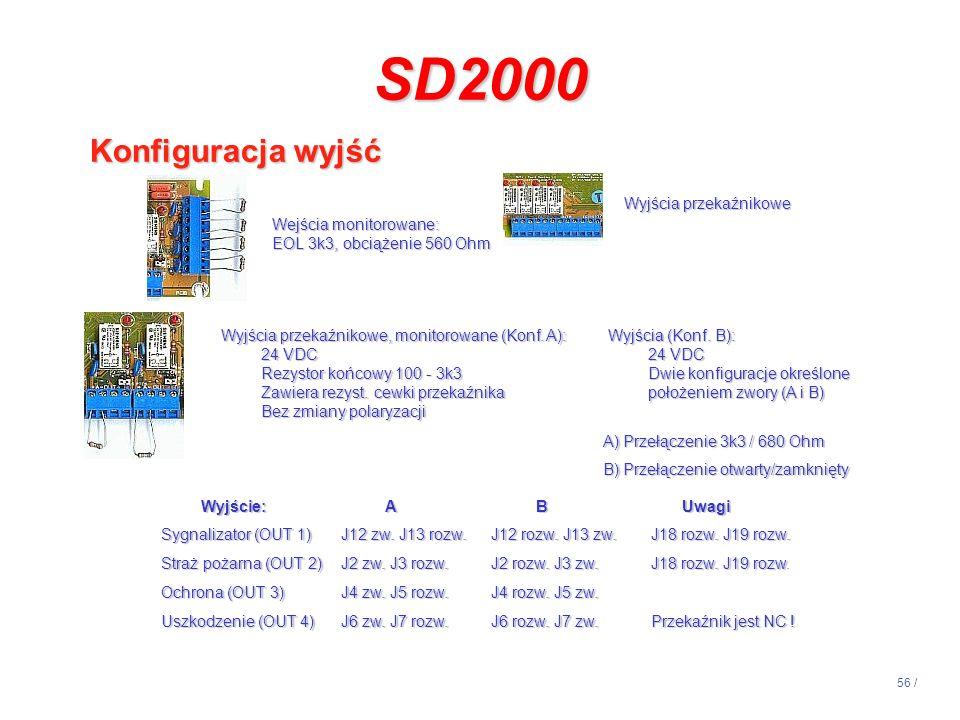 56 / Wejścia monitorowane: EOL 3k3, obciążenie 560 Ohm Wyjścia przekaźnikowe Wyjścia przekaźnikowe, monitorowane (Konf. A): 24 VDC Rezystor końcowy 10