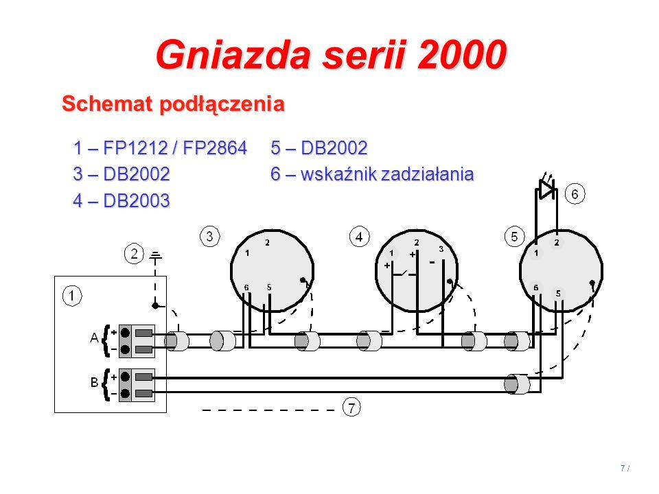 7 / Gniazda serii 2000 Schemat podłączenia 1 – FP1212 / FP28645 – DB2002 3 – DB2002 6 – wskaźnik zadziałania 4 – DB2003