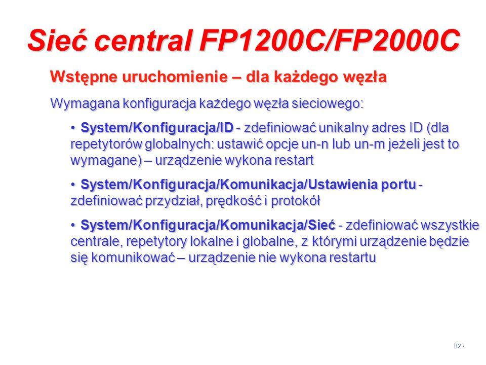 82 / Sieć central FP1200C/FP2000C Wstępne uruchomienie – dla każdego węzła Wstępne uruchomienie – dla każdego węzła Wymagana konfiguracja każdego węzł