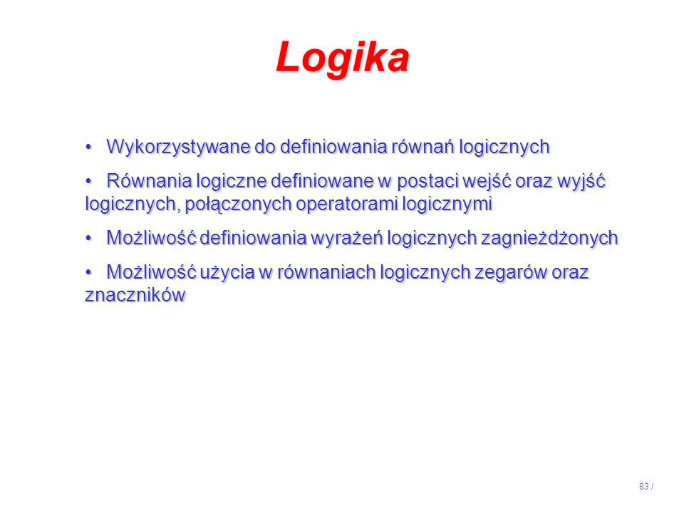 83 / Logika Wykorzystywane do definiowania równań logicznychWykorzystywane do definiowania równań logicznych Równania logiczne definiowane w postaci w