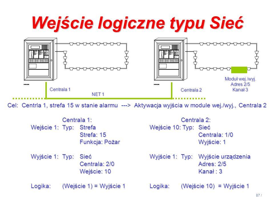 87 / Centrala 1: Wejście 1: Typ:Strefa Strefa: 15 Funkcja: Pożar Wyjście 1:Typ:Sieć Centrala: 2/0 Wejście: 10 Logika:(Wejście 1) = Wyjście 1 Centrala