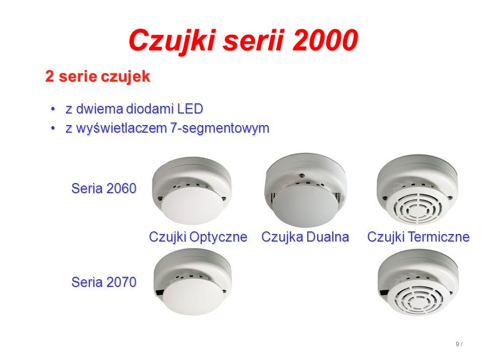 9 / Seria 2060 Seria 2070 Czujki Optyczne Czujka Dualna Czujki Termiczne Czujki Optyczne Czujka Dualna Czujki Termiczne Czujki serii 2000 2 serie czuj