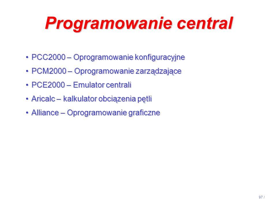 97 / Programowanie central PCC2000 – Oprogramowanie konfiguracyjnePCC2000 – Oprogramowanie konfiguracyjne PCM2000 – Oprogramowanie zarządzającePCM2000
