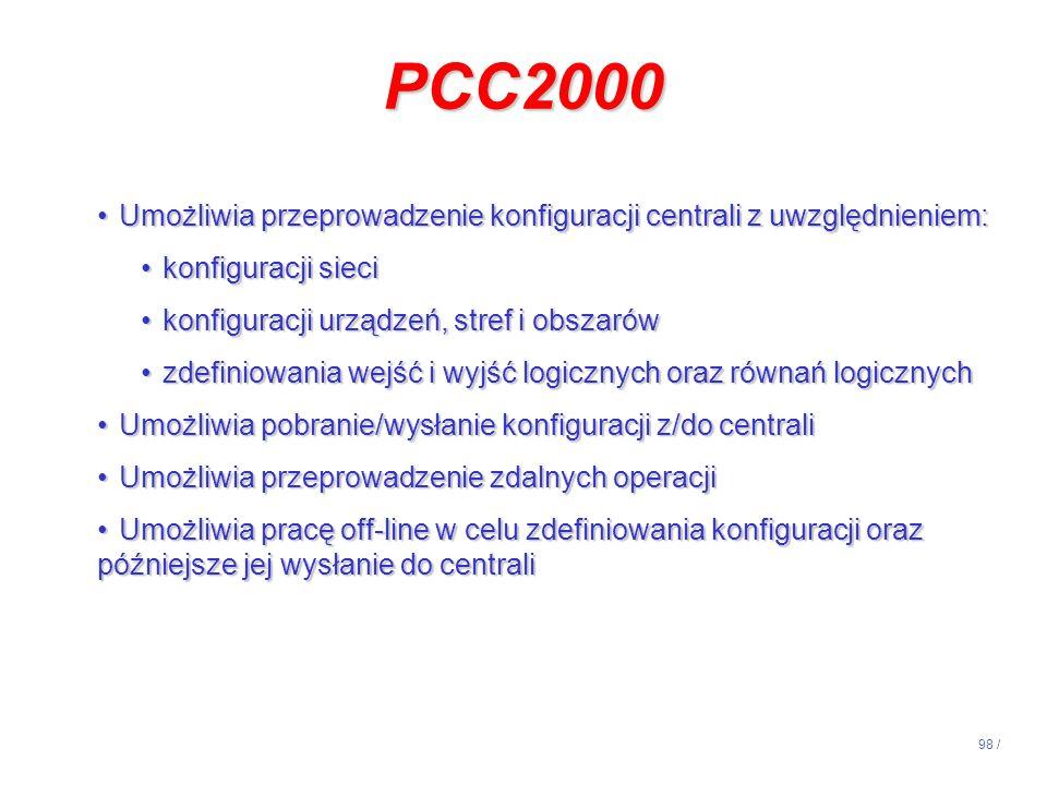 98 / PCC2000 Umożliwia przeprowadzenie konfiguracji centrali z uwzględnieniem:Umożliwia przeprowadzenie konfiguracji centrali z uwzględnieniem: konfig