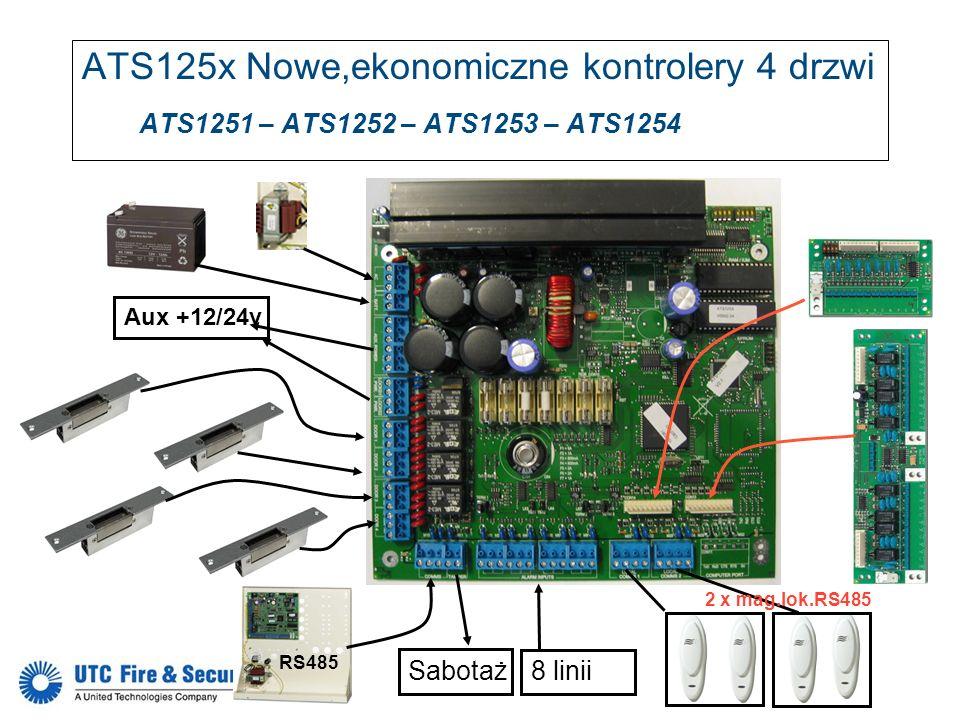 RS485 Sabotaż Aux +12/24v 8 linii 2 x mag.lok.RS485 ATS125x Nowe,ekonomiczne kontrolery 4 drzwi ATS1251 – ATS1252 – ATS1253 – ATS1254