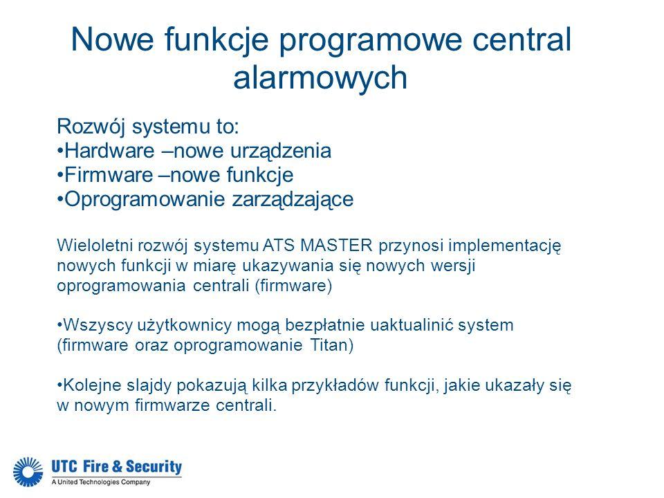 Nowe funkcje programowe central alarmowych Rozwój systemu to: Hardware –nowe urządzenia Firmware –nowe funkcje Oprogramowanie zarządzające Wieloletni