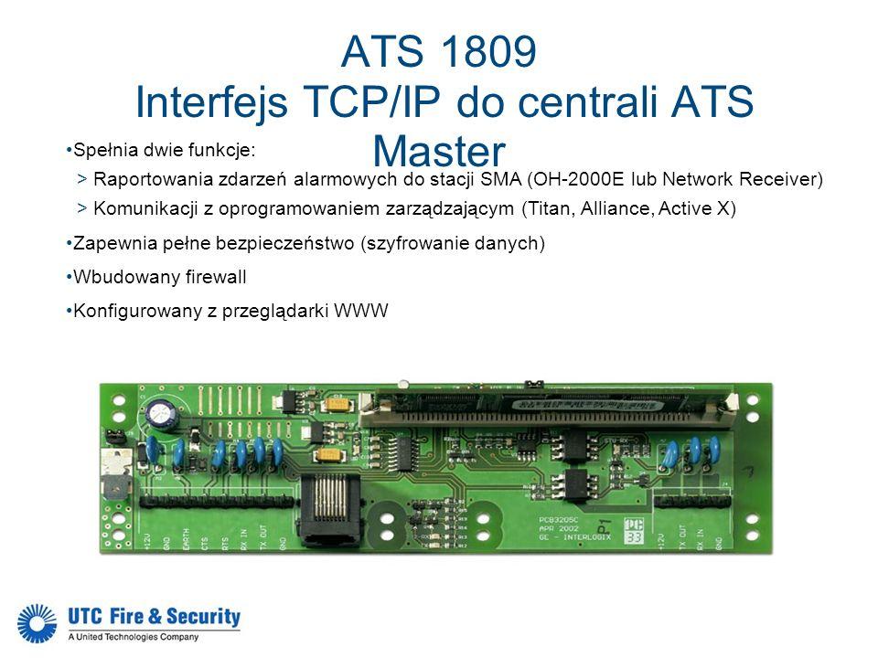 ATS 1809 Interfejs TCP/IP do centrali ATS Master Spełnia dwie funkcje: >Raportowania zdarzeń alarmowych do stacji SMA (OH-2000E lub Network Receiver)
