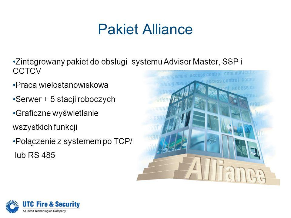 Pakiet Alliance Zintegrowany pakiet do obsługi systemu Advisor Master, SSP i CCTCV Praca wielostanowiskowa Serwer + 5 stacji roboczych Graficzne wyświ