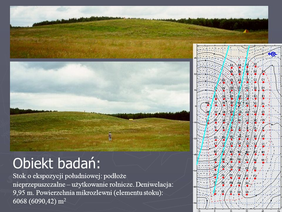 Mikrozlewnia stokowa A Obiekt badań: Stok o ekspozycji południowej: podłoże nieprzepuszczalne – użytkowanie rolnicze. Deniwelacja: 9,95 m. Powierzchni
