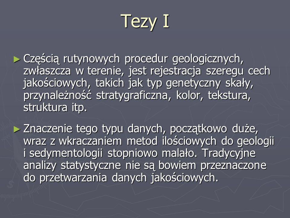 Tezy I Częścią rutynowych procedur geologicznych, zwłaszcza w terenie, jest rejestracja szeregu cech jakościowych, takich jak typ genetyczny skały, pr