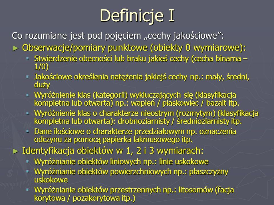 Definicje I Co rozumiane jest pod pojęciem cechy jakościowe: Obserwacje/pomiary punktowe (obiekty 0 wymiarowe): Obserwacje/pomiary punktowe (obiekty 0