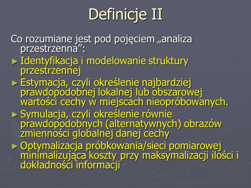 Definicje II Co rozumiane jest pod pojęciem analiza przestrzenna: Identyfikacja i modelowanie struktury przestrzennej Identyfikacja i modelowanie stru