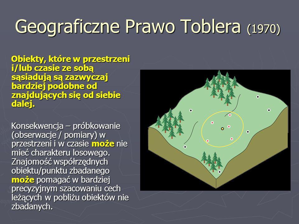 Geograficzne Prawo Toblera (1970) Obiekty, które w przestrzeni i/lub czasie ze sobą sąsiadują są zazwyczaj bardziej podobne od znajdujących się od sie