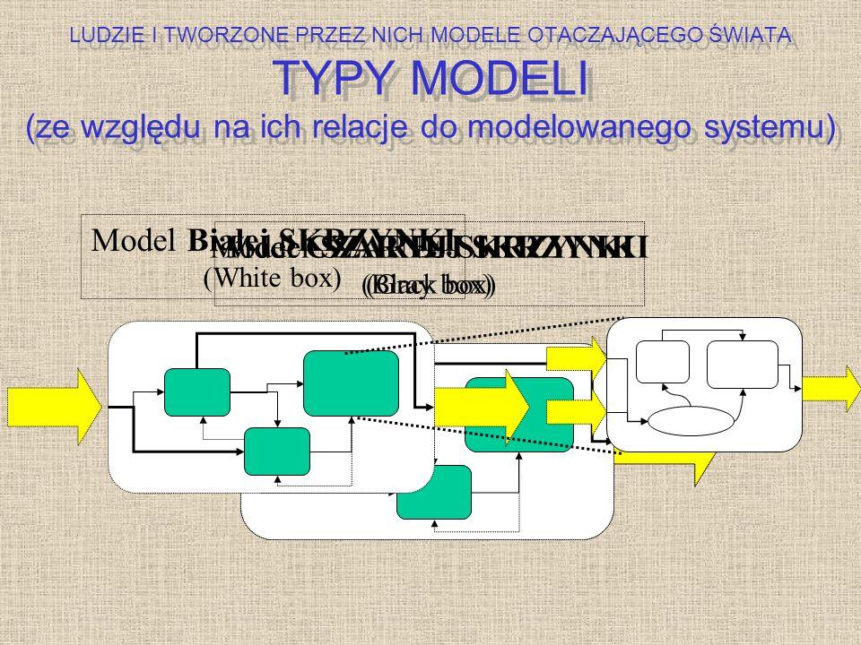 Model CZARNEJ SKRZYNKI (Black box) Model SZAREJ SKRZYNKI (Gray box) Model Białej SKRZYNKI (White box) LUDZIE I TWORZONE PRZEZ NICH MODELE OTACZAJĄCEGO