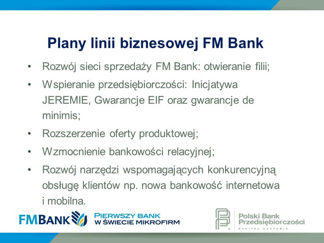 Rozwój sieci sprzedaży FM Bank: otwieranie filii; Wspieranie przedsiębiorczości: Inicjatywa JEREMIE, Gwarancje EIF oraz gwarancje de minimis; Rozszerz
