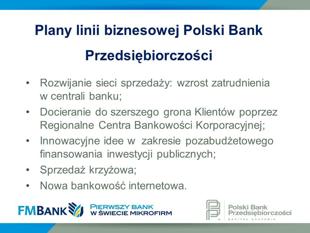 Rozwijanie sieci sprzedaży: wzrost zatrudnienia w centrali banku; Docieranie do szerszego grona Klientów poprzez Regionalne Centra Bankowości Korporac