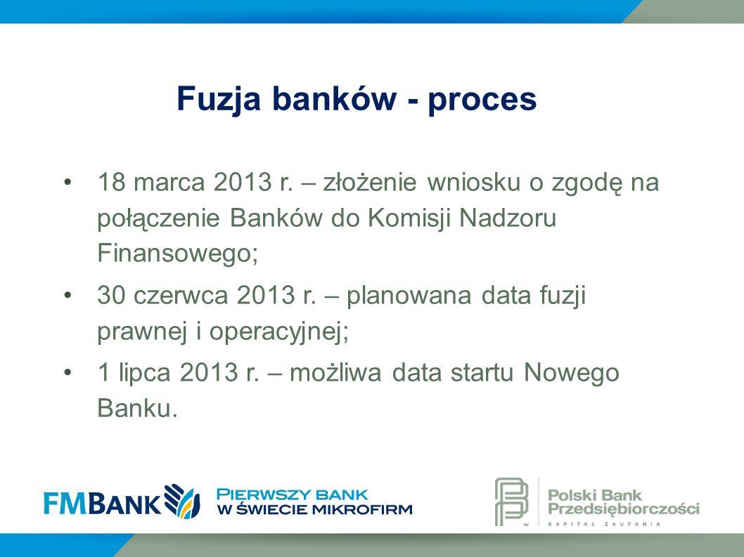 18 marca 2013 r. – złożenie wniosku o zgodę na połączenie Banków do Komisji Nadzoru Finansowego; 30 czerwca 2013 r. – planowana data fuzji prawnej i o