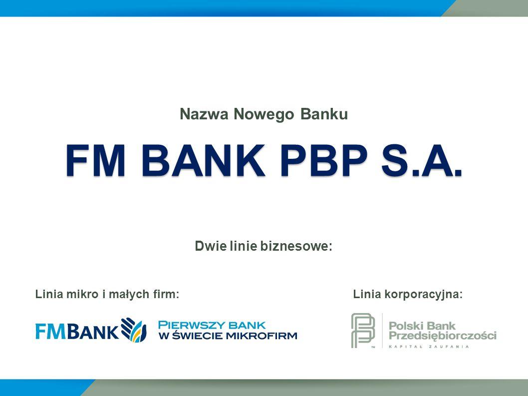 Nazwa Nowego Banku Dwie linie biznesowe: Linia mikro i małych firm: Linia korporacyjna: FM BANK PBP S.A.