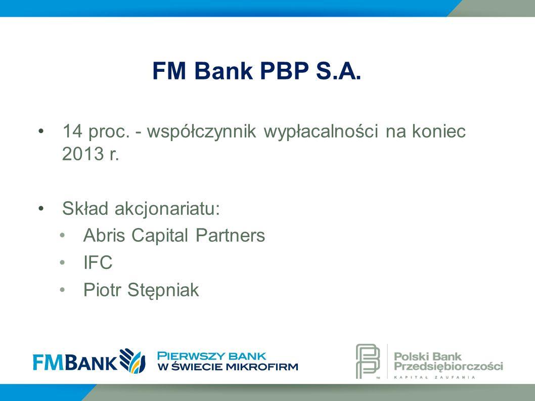 14 proc. - współczynnik wypłacalności na koniec 2013 r. Skład akcjonariatu: Abris Capital Partners IFC Piotr Stępniak FM Bank PBP S.A.